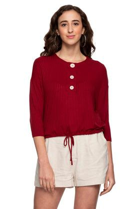 Womens Round Neck Front Tie Up Solid Knitted Top