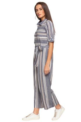 Womens Collared Stripe Jumpsuit
