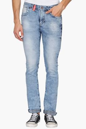 FLYING MACHINE Mens 5 Pocket Tapered Fit Stone Wash Jeans ( Micheal Fit)
