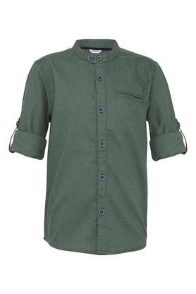Boys Mandarin Collar Slub Casual Shirt