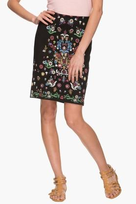 HAUTE CURRY Womens Embroidered Knee Length Skirt