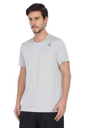 Mens Round Neck Self Printed Sports T-Shirt