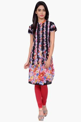 JUNIPERWomen Floral Print Cotton Chinese Collar Kurta - 201932831