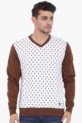 BLUE SAINTMens White Printed Sweatshirt