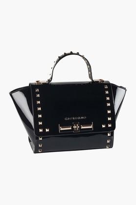 GIORDANOWomens Leather Metallic Lock Closure Tote Handbag