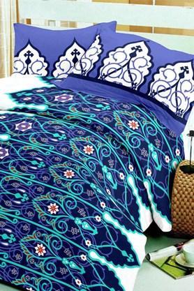 BLISSBlue Blue Cotton Double Bedsheet Set (Bedsheet Set (King)
