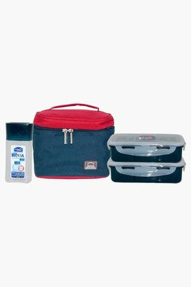 Unisex Lunch Box, Water Bottle And Colour Block Bag Set