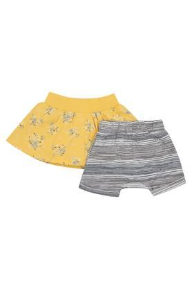 Girls Floral Print Skirt and Striped Shorts