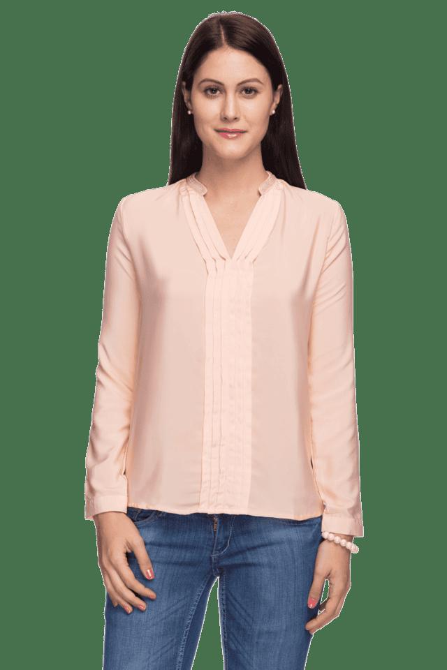 Women Long Sleeves Mandarin Neck Top