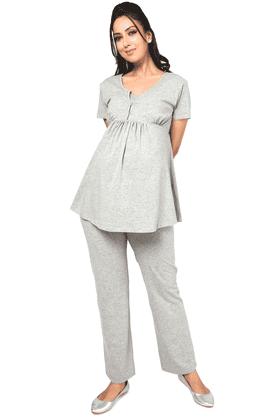 NINE MATERNITYSuper Comfy Foldover Jersey Pants In Grey