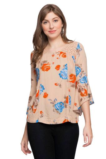 Womens Square Neck Floral Print Top