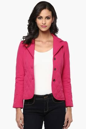 THE VANCA Womens Solid Quilted Notched Lapel Jacket