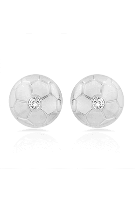 MAHI Mahi Rhodium Plated Football Stud Earrings With Crystal For Women ER1109302R
