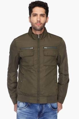 U.S. POLO ASSN. Mens Regular Fit Zip Through Neck Solid Jacket