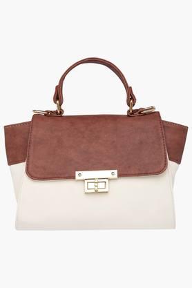 HAUTE CURRYWomens Metallic Lock Closure Satchel Handbag