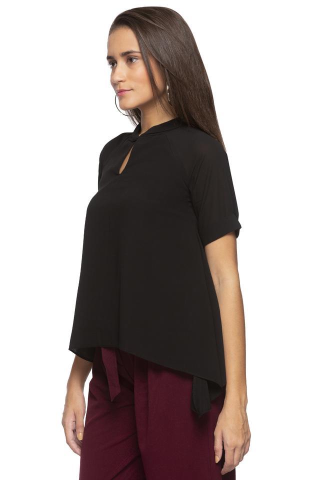 Womens Key Hole Neck Solid Asymmetrical Top