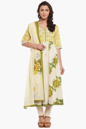 BIBAWomens Cotton Anarkali Suit Set - 202179836