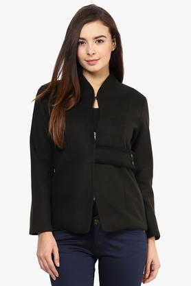RARE Womens High Neck Solid Jacket