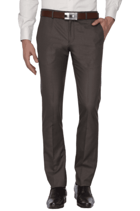 BLACKBERRYS Mens Slim Fit Solid Formal Trousers - 200889320