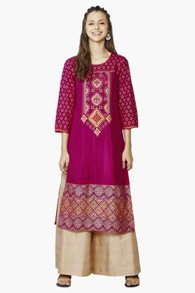GLOBAL DESI Womens Round Neck Printed Kurta - 201771846