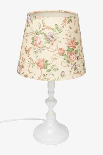 Round Floral Printed Victorian Table Lamp