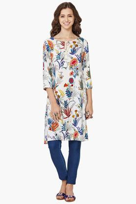 GLOBAL DESI Women Printed Tie Up Neck Kurta  ...