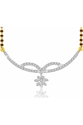SPARKLES Gold Mangalsutra With Diamond Pendant Set N9323