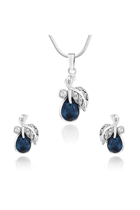 MAHI Mahi Rhodium Plated Montana Blue Berry Marquise Pendant Set Made With Swarovski Elements For Women NL1104107RBlu