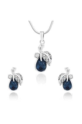 MAHIRhodium Plated Montana Blue Berry Marquise Pendant Set Made With Swarovski Elements For Women NL1104107RBlu
