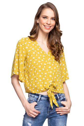Womens V Neck Floral Print Tie Up Top