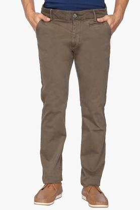 WROGN Mens Slim Fit 5 Pocket Solid Chinos  ...
