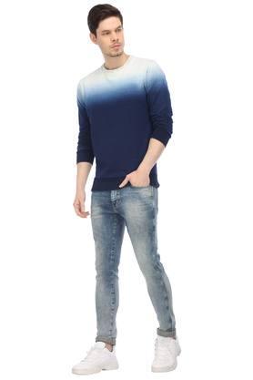 Mens Round Neck Ombre Sweatshirt