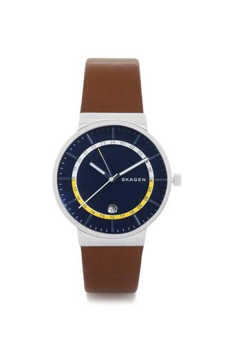 Mens Navy Blue Dial Leather Analogue Watch - SKW6253l