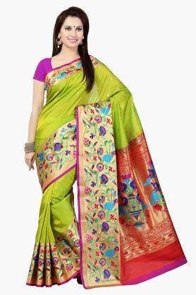 ISHIN Womens Poly Silk Embroidered Saree