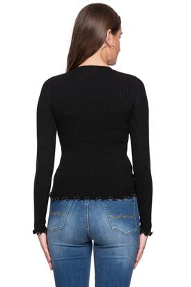 Womens Round Neck Solid Knitted Sweater