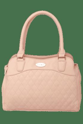 Womens Leather Zipper Closure Satchel