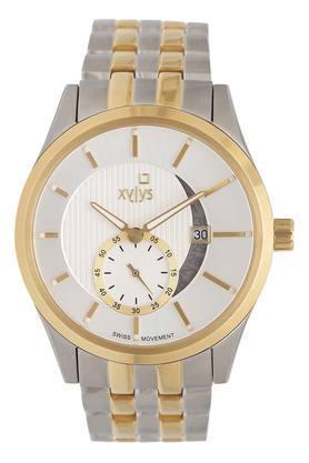 Mens White Dial Metallic Chronograph Watch - 40024BM01E