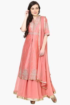 Womens Cotton Silk Front Open Suit Set