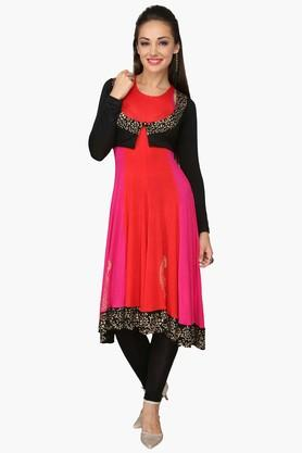 IRA SOLEIL Womens Colour Block Anarkali Kurta With Shrug (Funky Earrings - Free On Every Order)