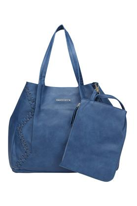 Womens Snap Closure Tote Handbag with Pouch