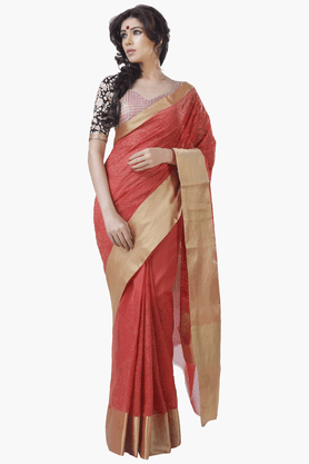 JASHN Womens Embroidered Saree With Blouse Piece - 201313063