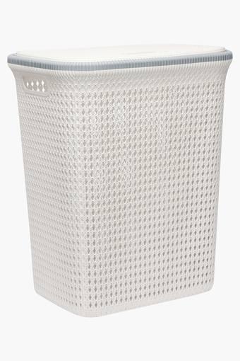 Rectangular Cane Motif Groovbed Laundry Basket
