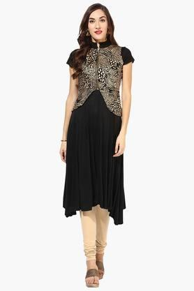 IRA SOLEIL Womens Printed Anarkali Kurta With Jacket (Buy Any Ira Soleil Product And Get A Necklace Free)