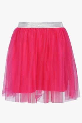 Girls Solid Layered Skirt