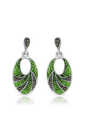 MAHI Mahi Rhodium Plated Exalting Earrings With Swarovski Marcasite For Women ER1107004R