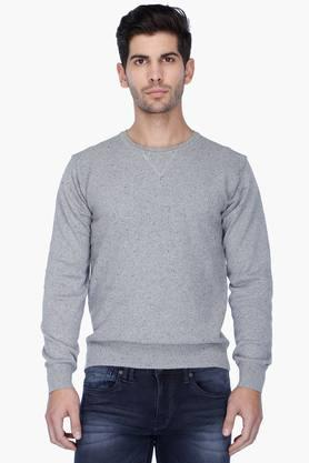 INDIAN TERRAIN Mens Regular Fit Slub Pullover (Jumper Fit)