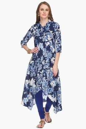 HAUTE CURRY Womens Collared High Low Printed Kurta - 201533259