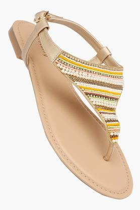 HAUTE CURRY Womens Casual Wear Buckle Closure Flat Sandals