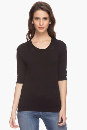 WILLS LIFESTYLE Womens Solid Round Neck Top