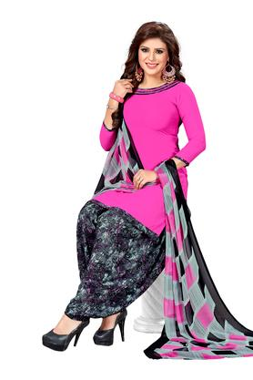 Womens Printed Unstitched Salwar Suit Dress Material with Dupatta